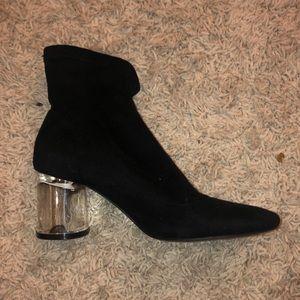 Zara booties with clear heels